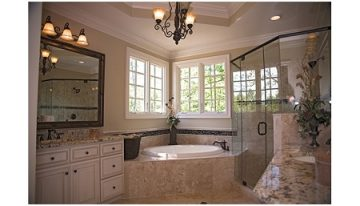 master bath showing drop-in tub and walk-in shower