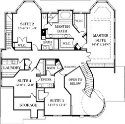 second floor plan of Fincastle showing all bedroom suites, storage and laundry